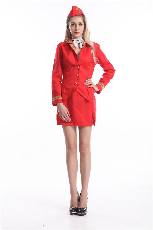 3c4cd65571c2c free shipping Trolley Dolly Costume Virgin Air Stewardess Hostess Cabin  Crew Fancy Dress NEW S M L XL 2XL sexy
