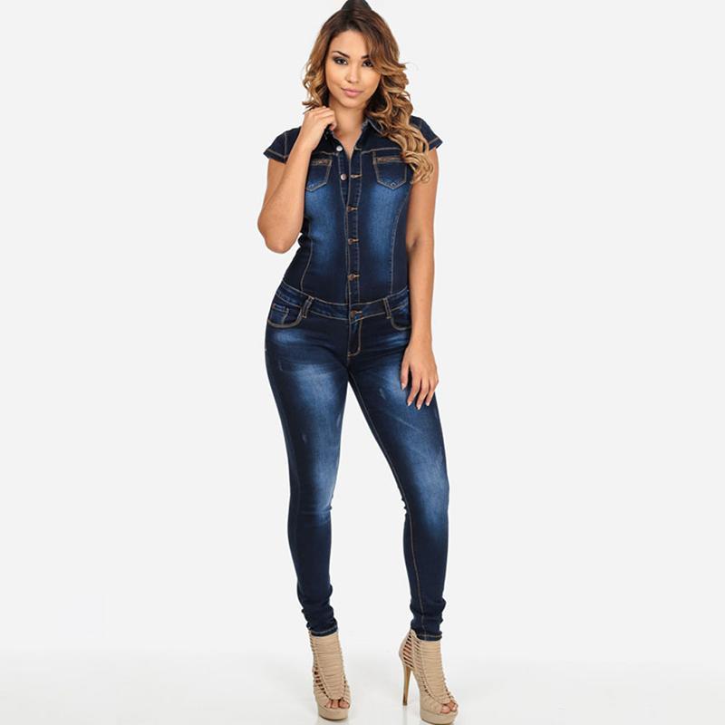 8de181c1b2 2019 2018 Summer Autumn Jeans Jumpsuits Women Denim Rompers Buttons Pockets  Casual Slim Ladies Jumpsuit Full Length Rompers IU813561 From Sincha