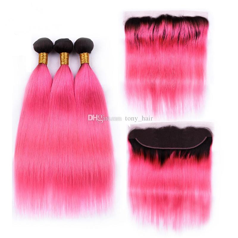 Dark Roots Pink Ombre Extension de cheveux Bundles avec fermeture de dentelle frontale 1B Peach Pink Ombre Straight Human Hair Weaves avec dentelle frontale
