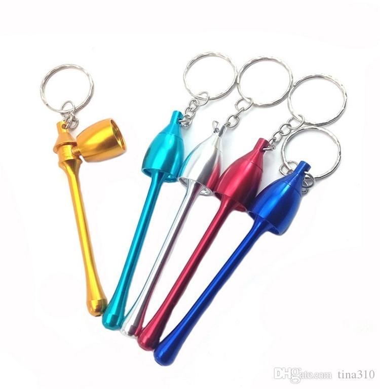 Pipas estilos Mini Llavero de la seta accesorios de fumar pipa último mini llavero de aluminio metal fumar en pipa regalo i177