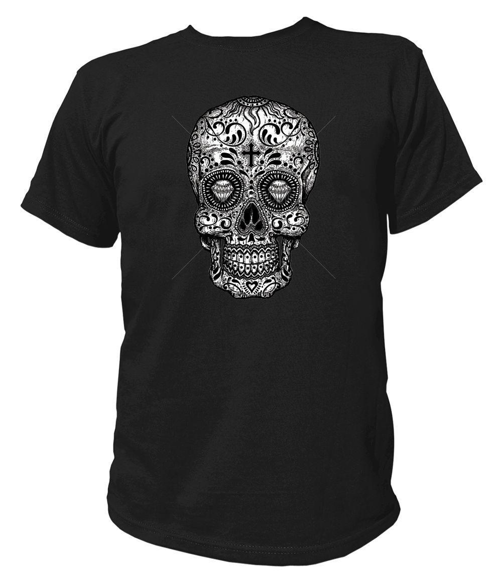 d99dce7e2f1db Herren T-Shirt Gothic SUGAR SKULL - BLACK & WHITE Rockabilly Hot Rod 17037  Funny free shipping Unisex Casual gift