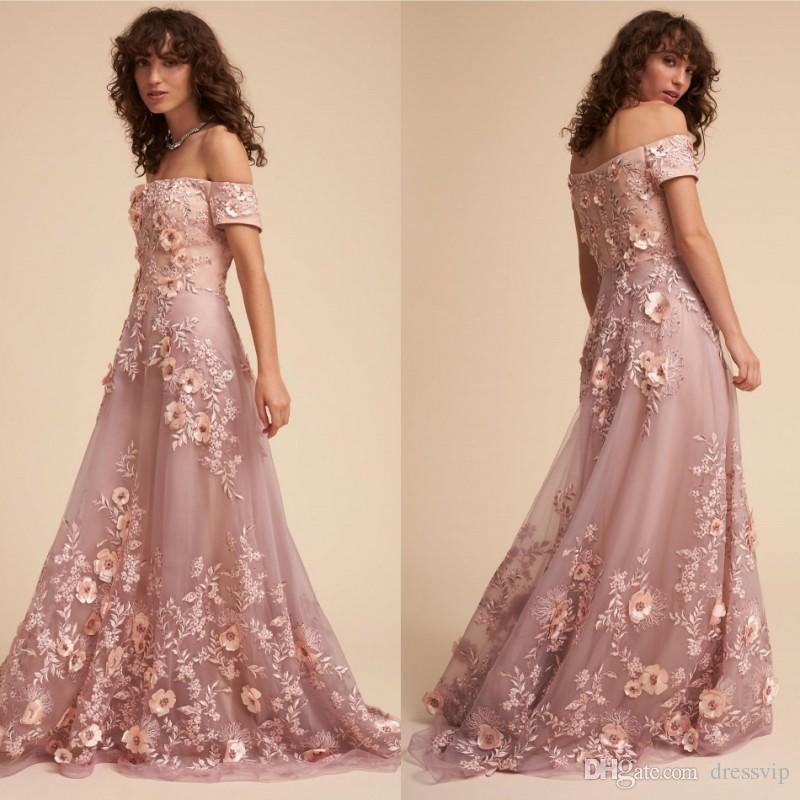 5f3effb605f 2018 BHLDN Prom Dresses Off Shoulder Lace 3D Floral Appliqued Sweep Train  Beaded Formal Dress Evening Light Pink Evening Gowns Vestito Da Sp 2015 Prom  Dress ...