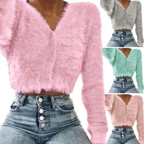 Compre Nuevas Mujeres De Color Sólido Fluffy Faux Fur Suéter Botones Cuello  En V Manga Larga Jumper Outwear Señoras Crop Top A  35.5 Del Candice98  ff17f493892