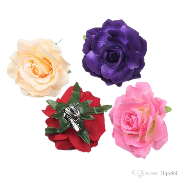 Wedding Bridal Rose Flower Hair Clip Flamenco Dancer Pin up Flower Brooch Bridesmaid Beach Party Vacation Hairpin Accessories