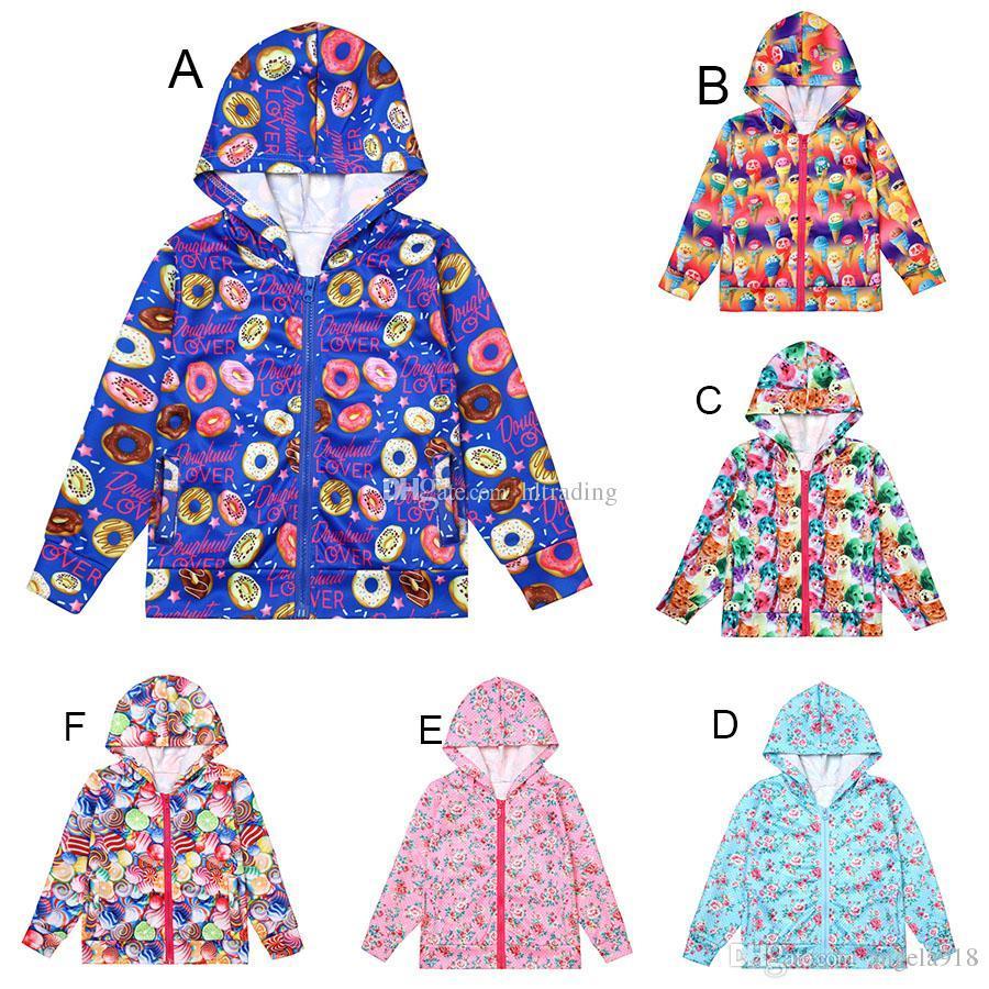 f8bd3e244 Baby Girls Floral Donut Ice Cream Cat Dog Print Coats Autumn Kids ...