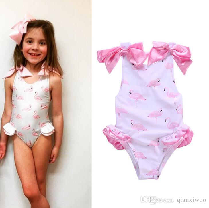 Hot Summer Baby Girls One-piece Swimsuit Swan Flamingo Printed Bow Sleeveless Swimwear Kids Children Swimming Suit W189