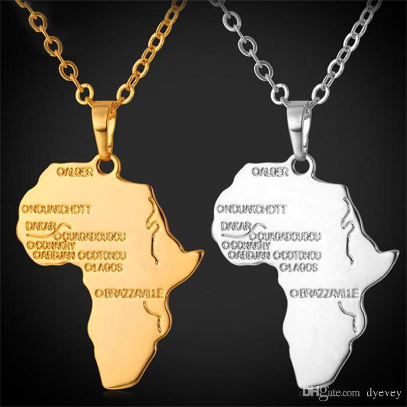 Африка подвеска 2018 новая платина / 18K настоящее позолоченные унисекс женщины / мужчины мода Африканская карта ожерелье хип-хоп ювелирные изделия