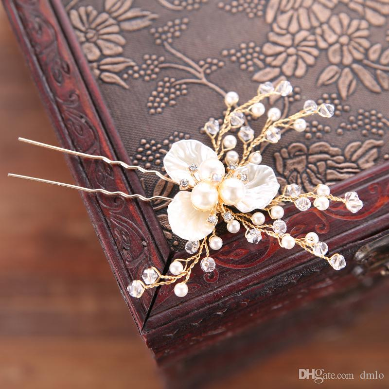 Pearl Crystal Women Hairpins Headdress Flower Bridal Wedding Hair Pins Clips for Bride Girls Gold Silver Headpieces Hair Jewelry Accessories