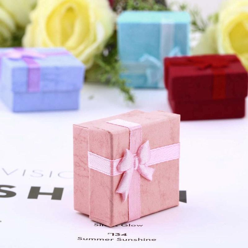Hoomall Jewelry Box Small Ring Package Bow Gift Boxes New Year Christmas Decoration Candy Box Gifts Organizers