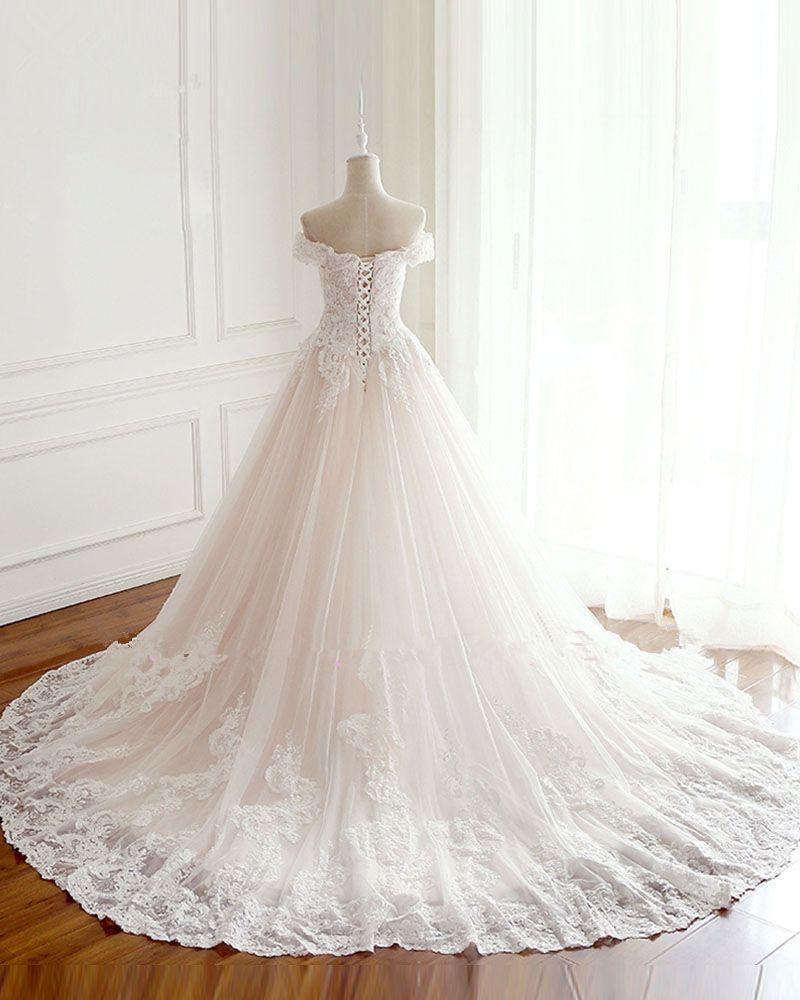 Neue 2019 Prinzessin Brautkleider Türkei Weiß Appliques Pink Satin Inside Elegante Brautkleider Plus Size