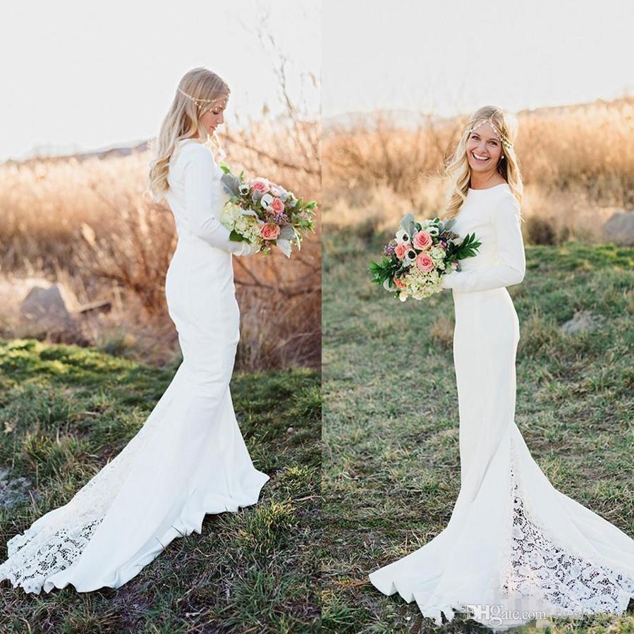 jewel long sleeve mermaid bohemian wedding dresses 2018 vintage simple lace stain country garden beach wood trumpet wedding gowns