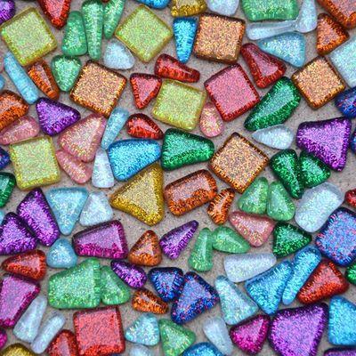 2018 200g Glitter Glass Mosaic Beads Flat Marbles Irregular Glass