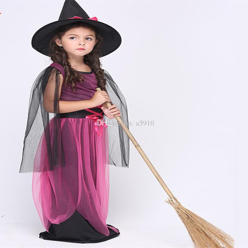 Stretch Dark Gothic Style Magic Witch Cotton Net yarn Dress Costume Anime Cosplay Boy Girl Teen Size Optional
