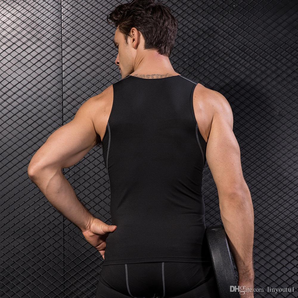 2018 YD Nouveau Compression Collants Gym Débardeur Rapide Sans Manches Sans Manches Sport Chemise Hommes Gym Vêtements Pour L'été Cool Hommes Gilet de Course