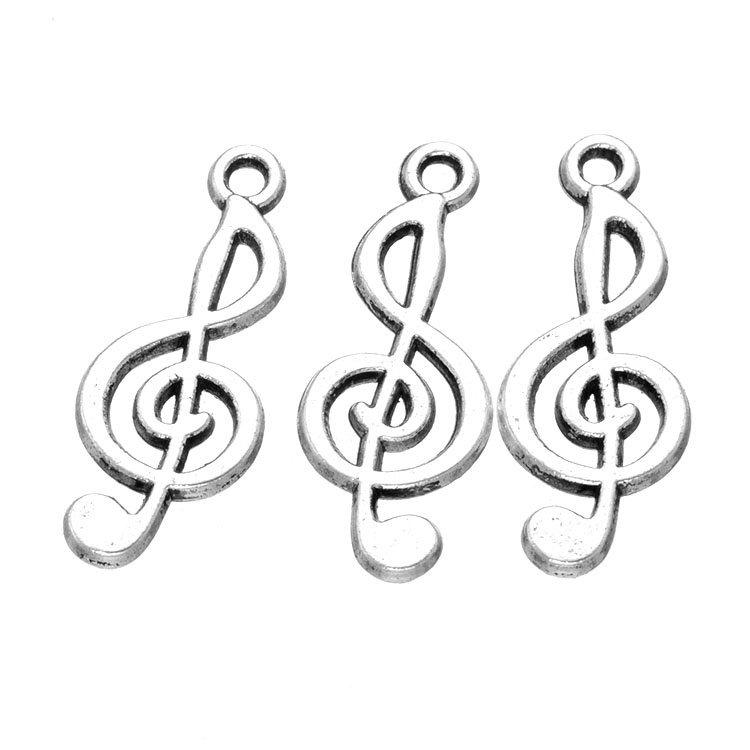1000pcs 25*10mm DIY Jewelry antique silver color Alloy treble clef art symbol Music note charms pendant for bracelet necklace