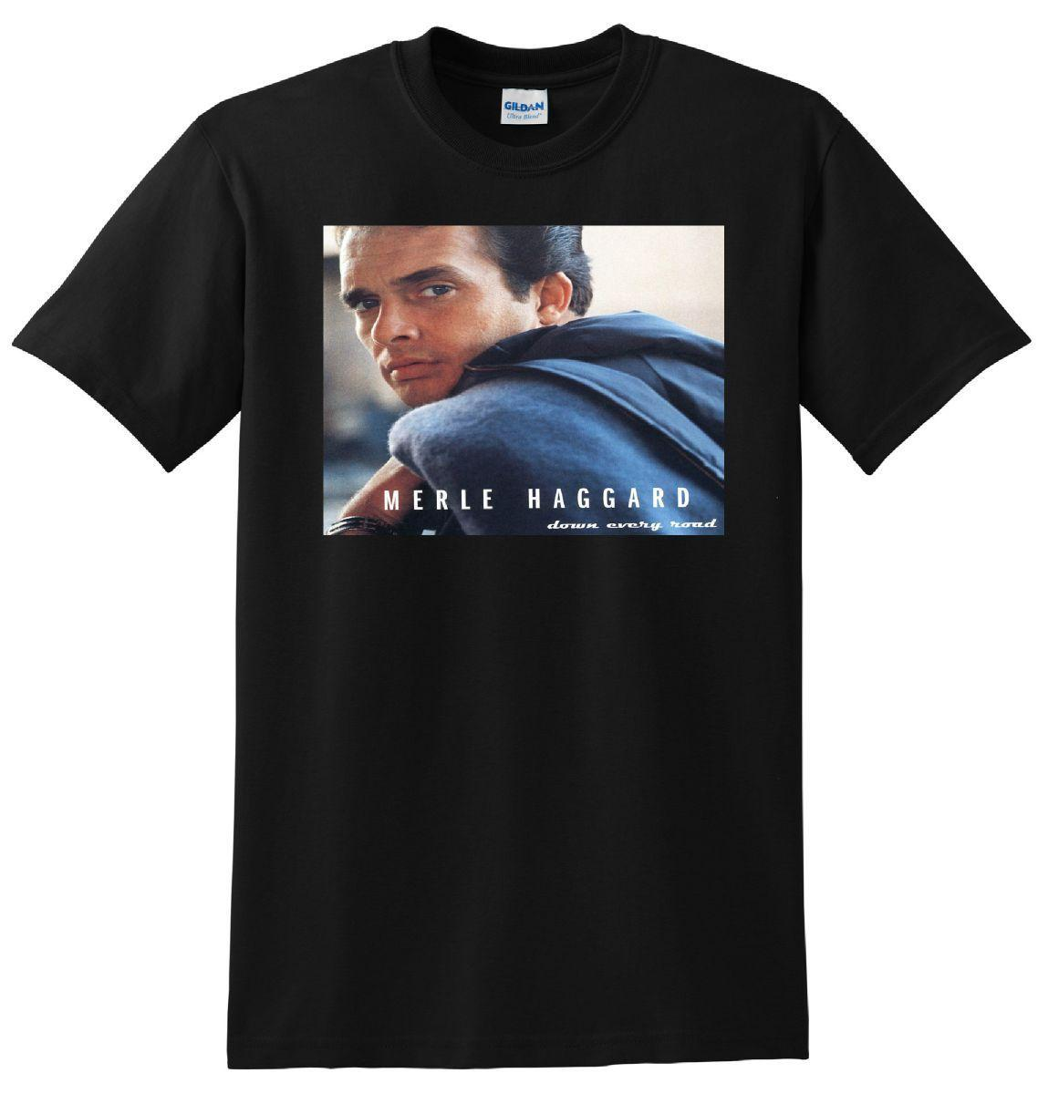 33078004b MERLE HAGGARD T SHIRT Down Every Road Vinyl Cd Cover Funny Unisex Casual  Gift Funny Political T Shirts Tee Designs From Lukehappy12, $12.81|  DHgate.Com