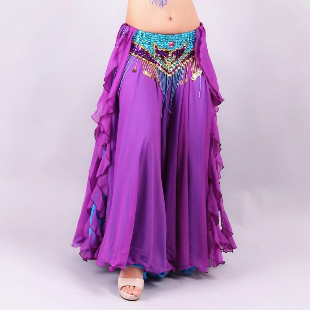 9268bad73b45 Faldas de danza del vientre mujer palabra de longitud 2 capas de gasa Falda  de traje de danza del vientre Falda de traje oriental Bellydance (sin ...