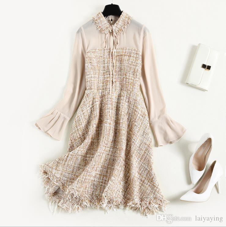 4246f6dd5e11 Acquista Abbigliamento Invernale Donna Europea Ed Americana 2018 Nuovo  Abito Con Nappe In Tweed A Manica Corno A  77.11 Dal Laiyaying