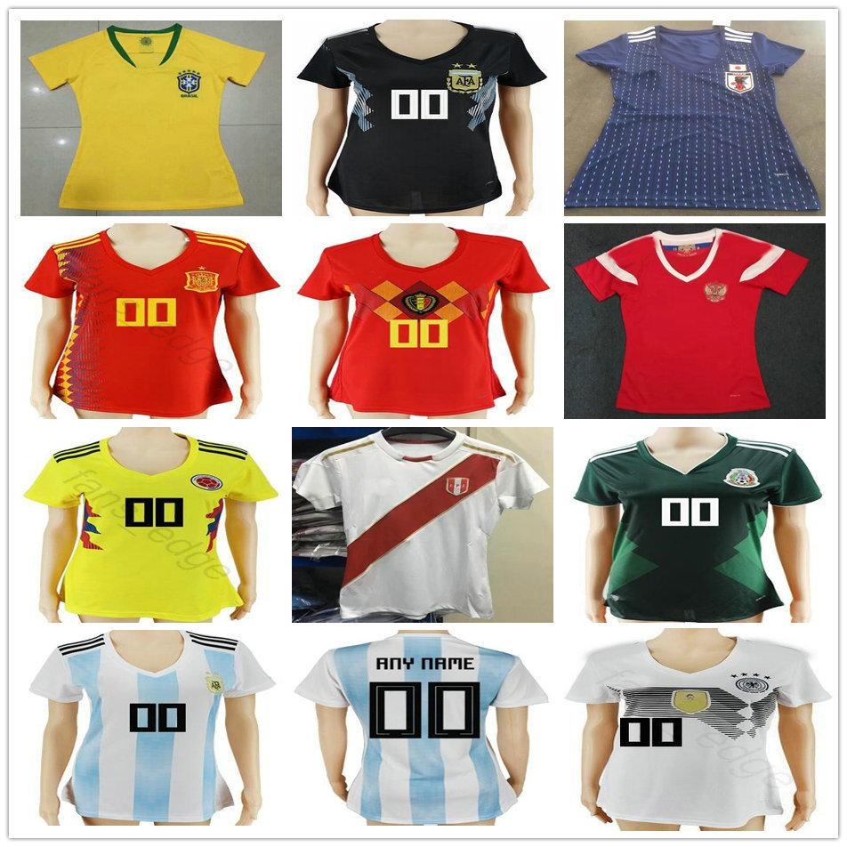 2019 2018 Women Soccer Jerseys Spain Russia Belgium Colombia Brasil Mexico  Argentina Japan Peru GerMaNy Ladies Customize Football Shirt From  Fans edge 3cae64d8d1