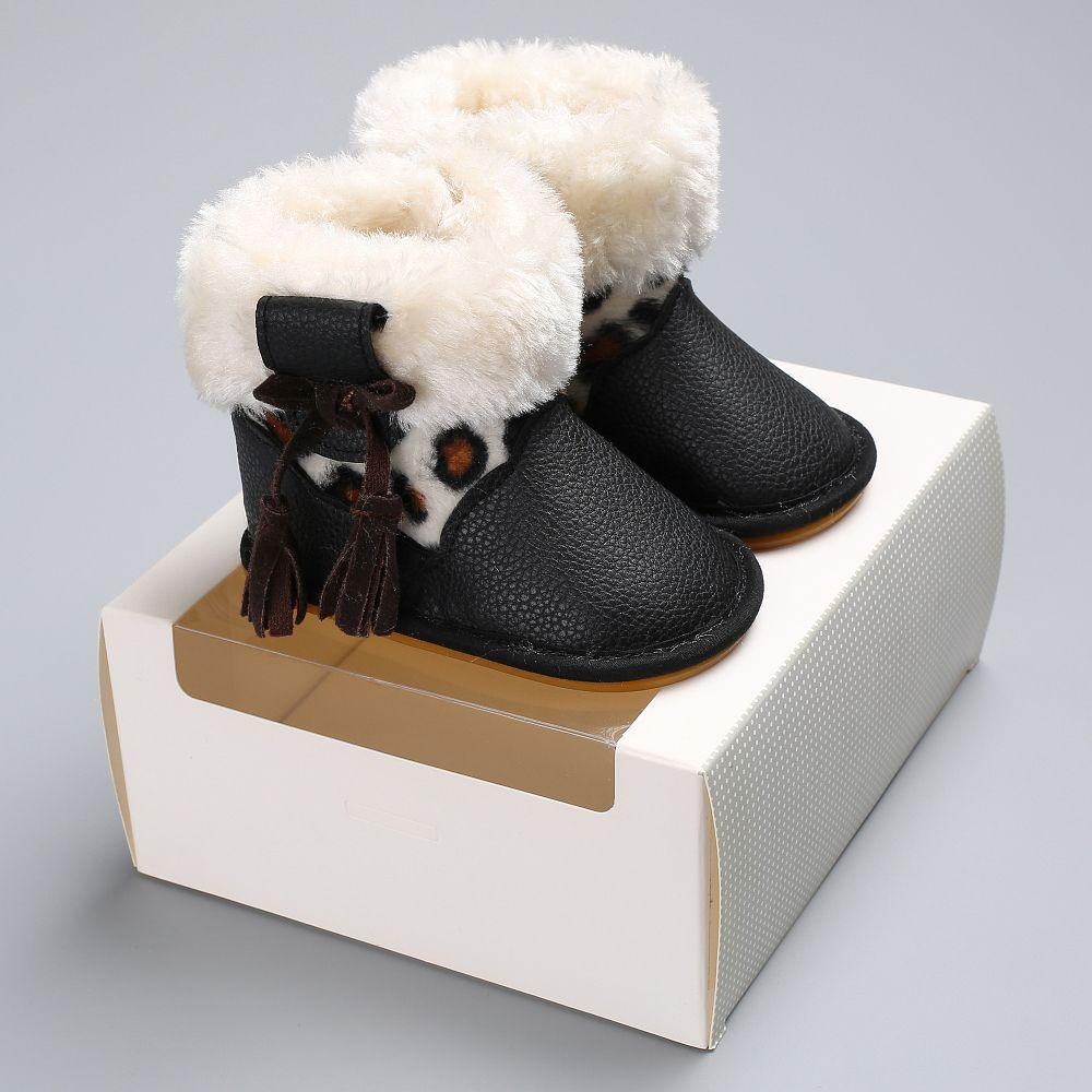 lowest price 946c9 cb6b8 Palla di pelo di pizzo leopardo più stivali da neve impermeabili in  velluto, ispessimento delle scarpe di cotone appena nato, fondo morbido  C-406