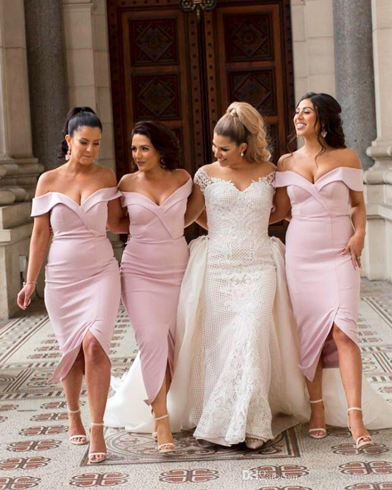 2018 Sheath Tea Length Short Bridesmaid Dresses Light Pink Off Shoulders  Sweetheart Neckline Front Split Little White Party Evening Gowns Childrens  ... f3da93d1b9b2