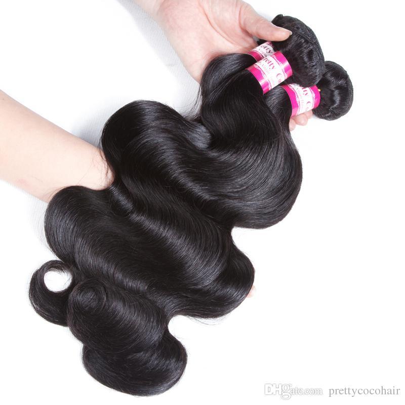 8A Onda del corpo brasiliana non trattata dei capelli umani cuce nelle estensioni dei capelli vergini morbide e spesse 100g fasci del tessuto dei capelli umani di Remy