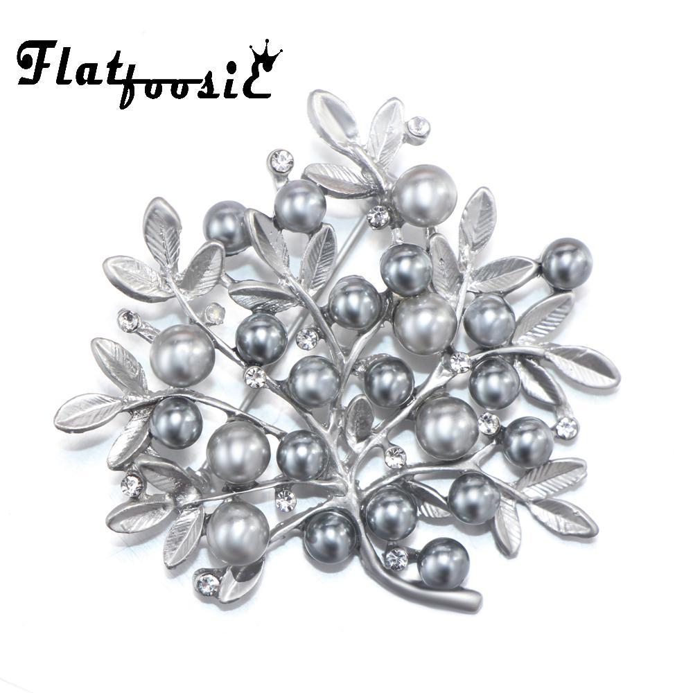 Flatfoosie Silver-Color Simulation Pearl Brooches Leaf Plant Vintage ... d1d78fcecb00