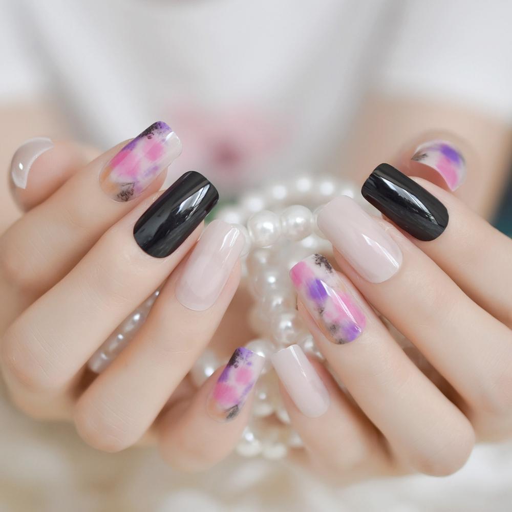 Nail Design Kit Black Floral White Square Medium Fake Nails Shiny