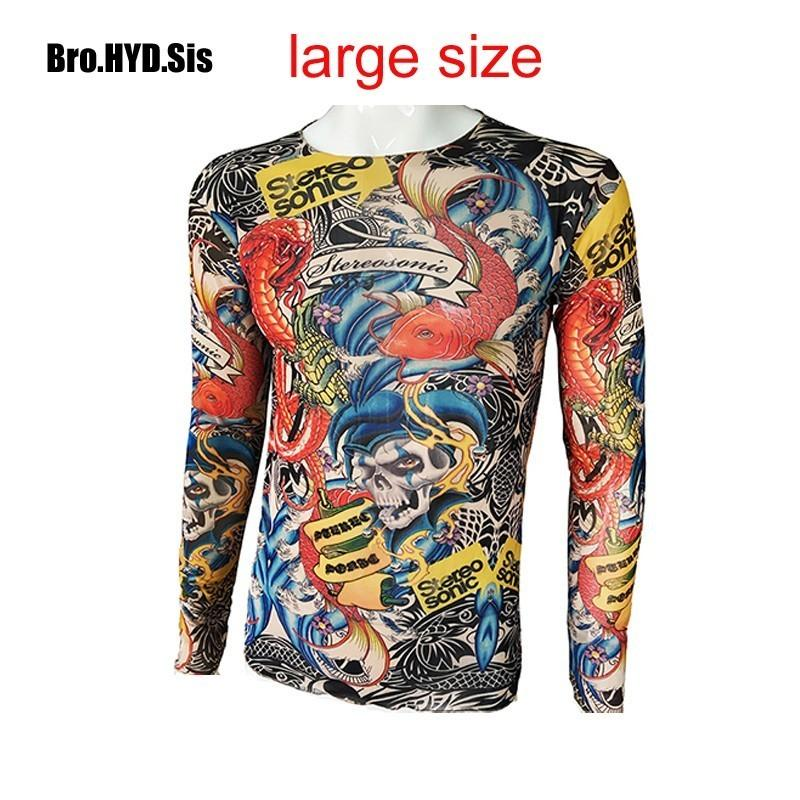 Long Sleeve Tattoo Sleeve For Black Men: Fashion Men'S Fake Tattoo T Shirts Long Sleeve Elastic