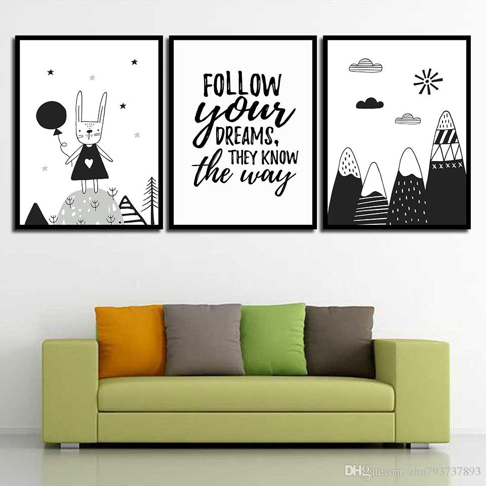 Nordic Style Wall Art Print HD Canvas Cartoon Rabbit Mountain Poster Painting Pop Pictures For Living Room Home Decoration