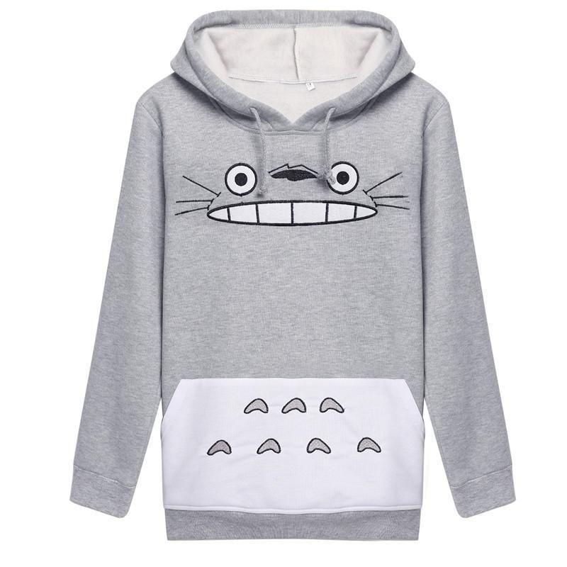 Compre Harajuku Mujeres Sudadera De Moda De Dibujos Animados Totoro Animal  Bts Imprimir Sudadera Con Capucha Primavera Otoño Fuera Pullove Gris Algodón  Slim ... d316a8a6de5