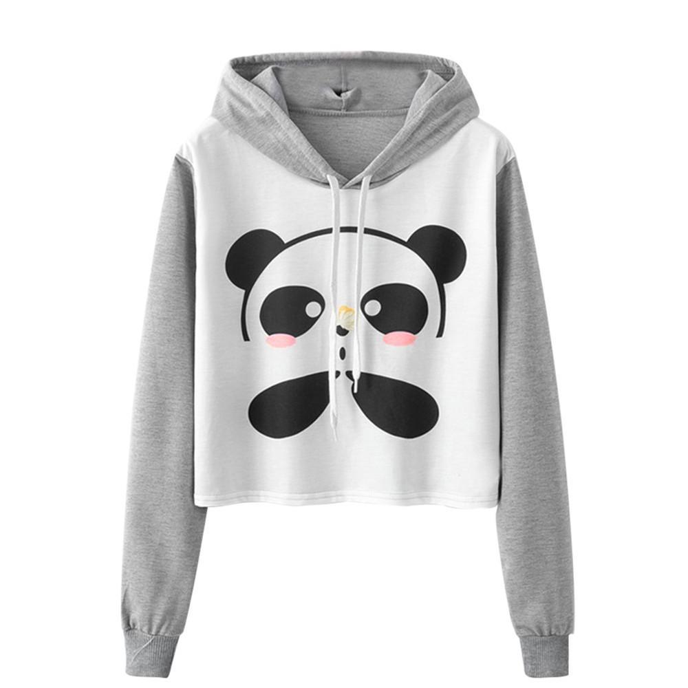 Großhandel Schöne Cartoon Panda Hoodies Frauen Langarm Sweatshirt Damen  Ernte Pullover Drawstring Hoody Sudadera Mujer  VE Von Liasheng10,  26.96  Auf De. 3254199f57