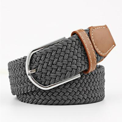 Hot Colors Men Women's Casual Knitted Belt Woven Canvas Fashion Elastic Stretch Belt Plain Webbin Metal Buckle 6 Styles