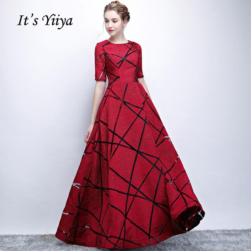 3b77e8c9f1 Compre Es YiiYa Nuevo O Cuello Mangas Cortas A Line Vintage Elegante  Cremallera Cena Vestidos Vestidos Vestidos De Noche Longitud YS017 A  75.54  Del ...