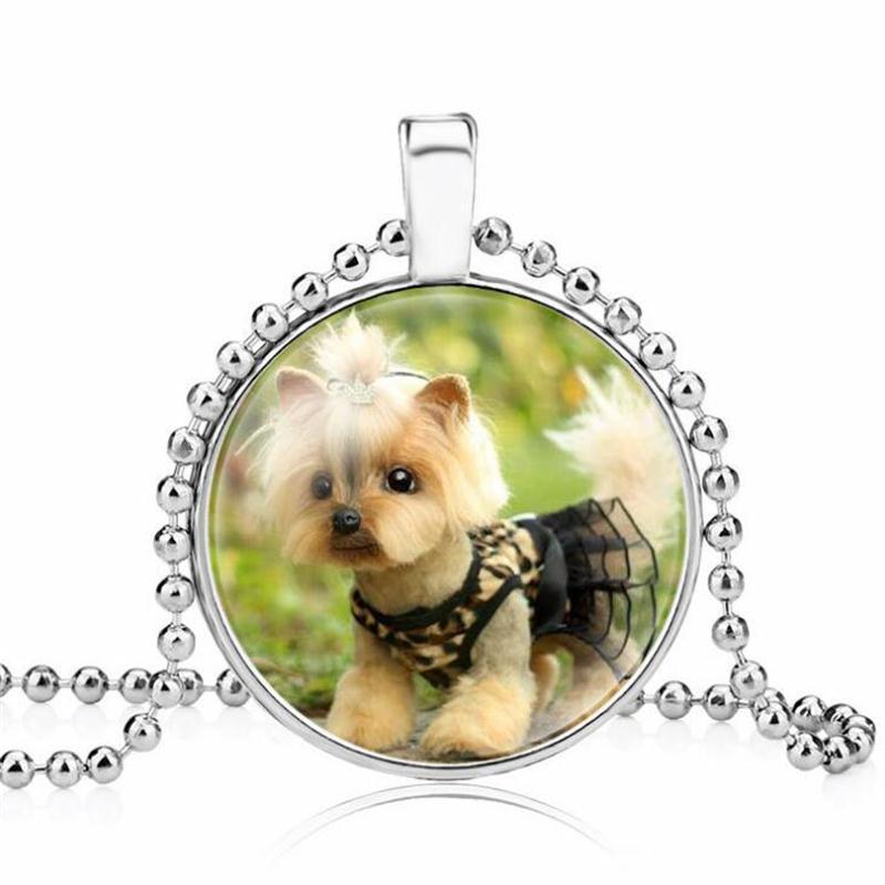 Cibotium Бык Собака Фото Ожерелье Стекло Кабошон Ожерелье Собака Кулон Ожерелье Ювелирные Изделия Для Владельца Домашнего Животного Подарок