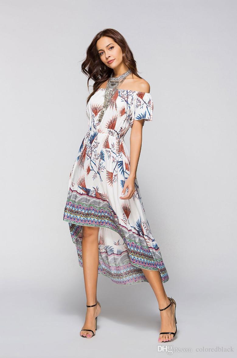 2018 Bahar Yeni Sokak Tarzı Elbiseler Çiçek Baskı Seksi Elbiseler Rahat Gevşek Uzun Elbise Kadın Moda Zarif Konfeksiyon Ücretsiz Kargo