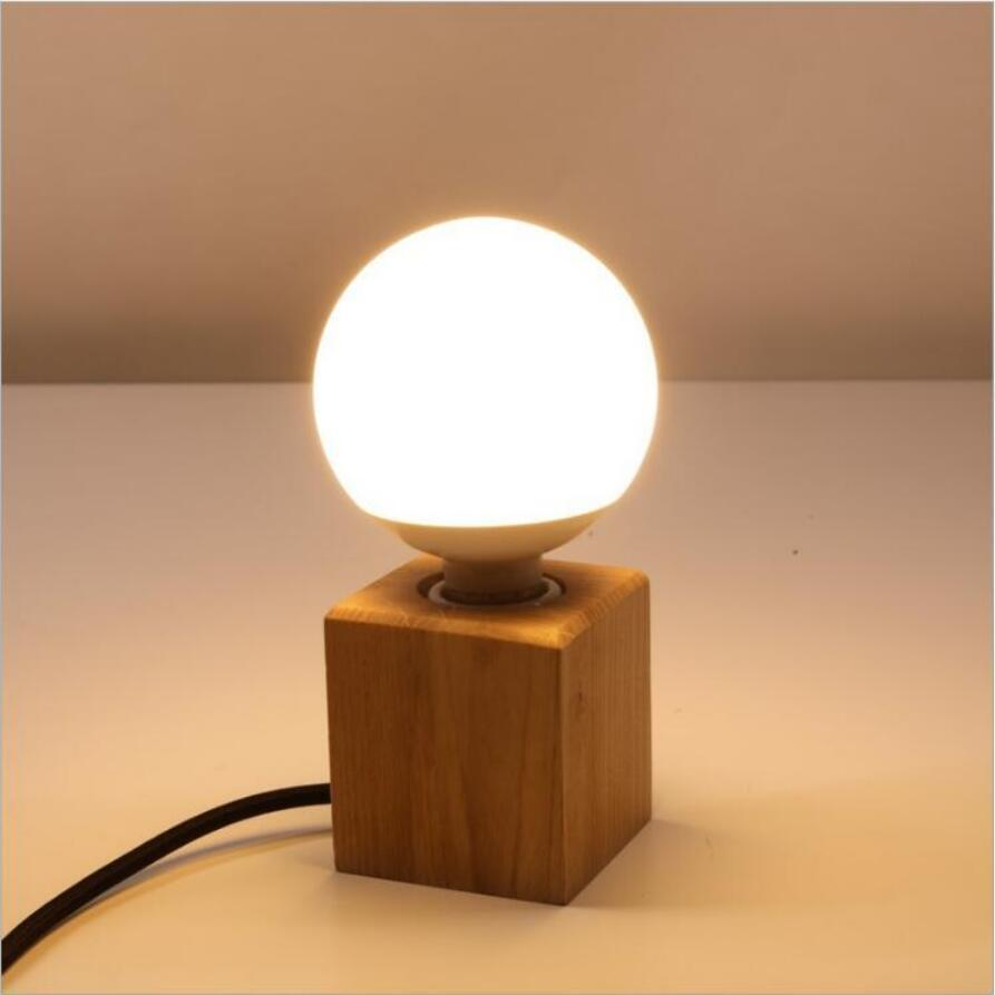 2019 Fashion Small Solid Wood Table Lamps High Quality E27 Bulb Led