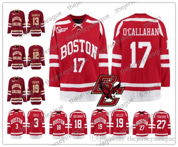 8f85b60eb 2019 Boston College Eagles  17 Jack OCallahan 19 Clayton Keller 7 Charlie  McAvoy Good Quality Stitched Red White Yellow Hockey Jerseys From  Thejerseysleague ...