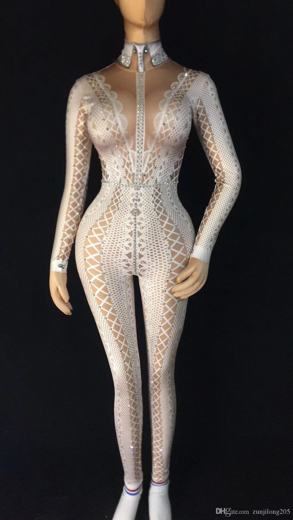 2019 Spandex Printed Stretch Jumpsuit Rhinestones One Piece Bodysuit Costume  Stage Outfit Singer Dancer Performance Rompers From Zunjilong205 4e7ac025a450