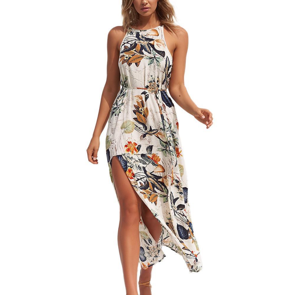 Blätter 2019 Mode Blume Sexy Sommer Halter Blumen Lange Langes Bohe Frauen Ärmellose Kleid Maxi Strand 1TclKFJ