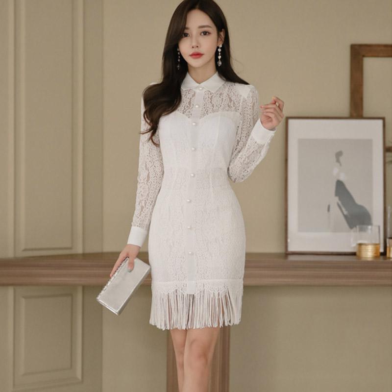 d3966d900e0 2019 Autumn New 2018 Korean OL Elegance Slim Sexy Stitching Tassel Bag Hip  Dress Female Peter Pan Collar Long Sleeve White Lace Dress From Yyliang