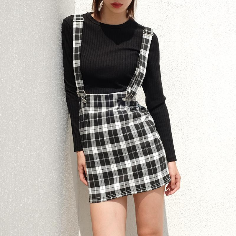 b10d8bffa4 2019 Mengpipi Vintage Black Wither Plaid Skirts Women Autumn Clip Straps High  Waist A Line Skirts Back Zipper Ladies Mini From Sweatcloth, $28.44 |  DHgate.