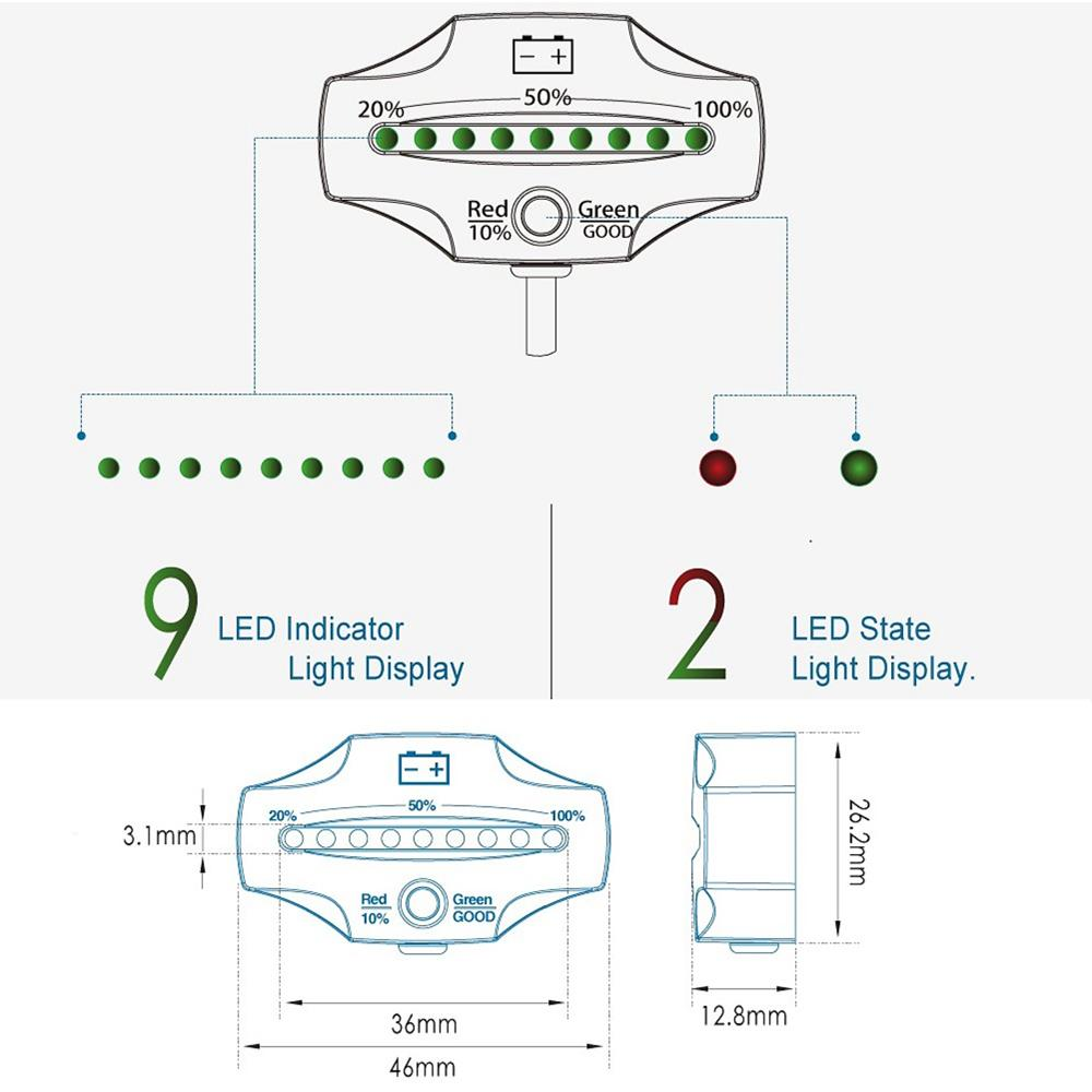 Freeshipping 12/24V LED Lead Acid Storage battery tester Battery Indicator Gauge Battery Level Monitor diagnostic-tool for Golf Carts