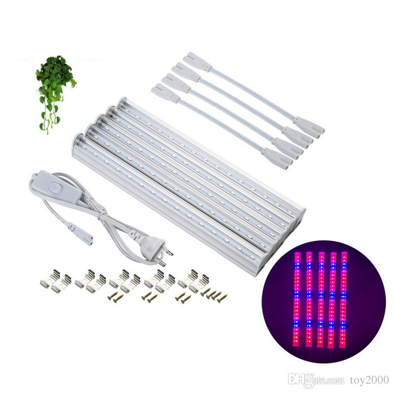 T5 1ft 2ft 3ft 4ft Full Spectrum LED Grow Lights 85-265V LED Grow Tube Integration Tube for Medical Plants and Pink Color