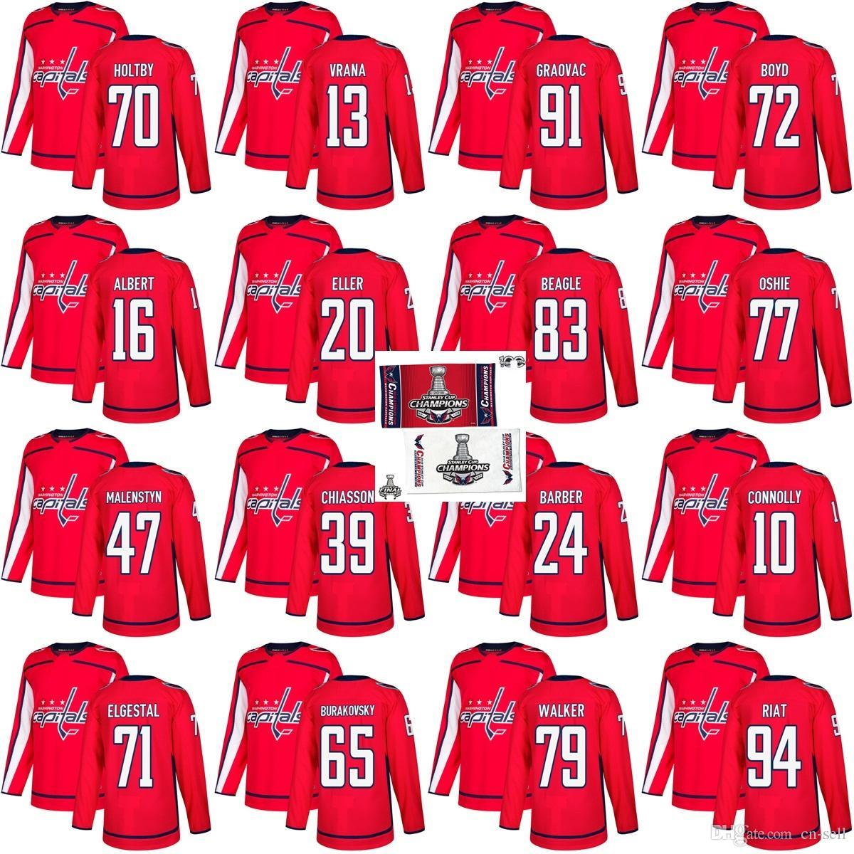 8752d6626 2018 2018 Stanley Cup Final Champion Patch T.J. Oshie 70 Braden Holtby  Jakub Vrana 91 Graovac Travis Boyd Washington Capitals Hockey Jerseys Red  From Cn ...