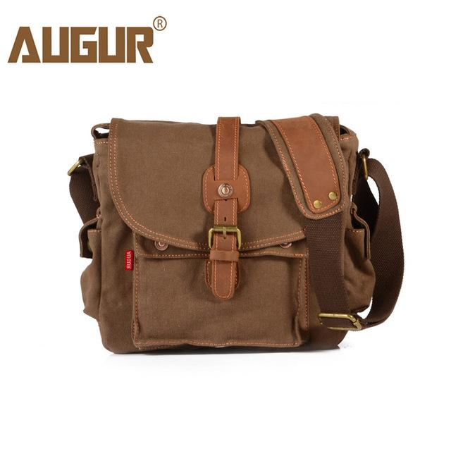 15b28e4a30 2018 AUGUR Fashion Mens Shoulder Bag Canvas Leather Belt Vintage Military  Male Small Messenger Bag Casual Travel Crossbody Bags Messenger Bags For  Women ...