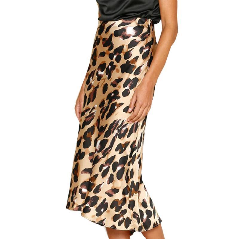 f1b4eff4b Faldas de las mujeres Nueva Moda Leopardo Impreso Mujer Sirena Primavera  Elástico Cintura Vendaje Sexy Trompeta Otoño Faldas Club Party M0159
