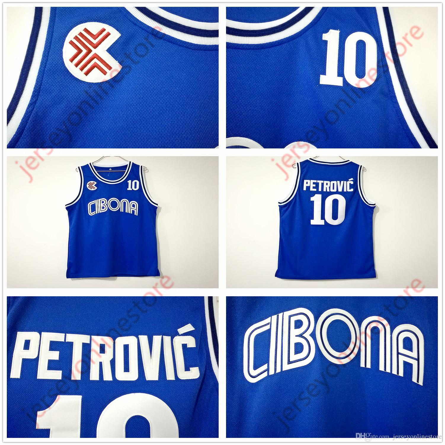 c98ba65e193 2019 Cheap Mens BC Cibona  10 Drazen Petrovic Jersey Wholesale Blue Drazen  Petrovic College Basketball Jerseys Stitched From Jerseyonlinestore