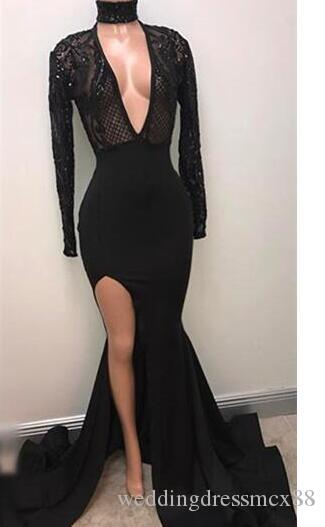 Fabulous Fashion Black High Neck Prom Dresses 2018 Appliqued Long Sleeves Mermaid Plunging Sexy Split Evening Gowns Pageant Celebrity Dress