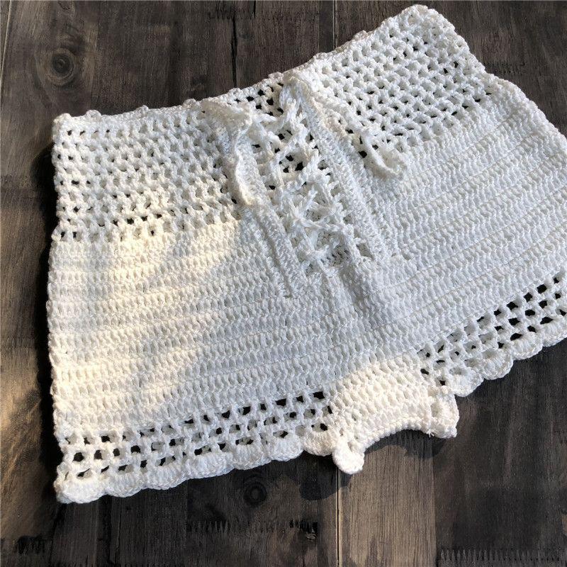 f265605bca640 2019 2018 Women Bathing Suit Crochet Tankinis Swimwear Knitting Bandage Hollow  Out Tank Bottom Bikini Beachwear Board Shorts From Wyp1989